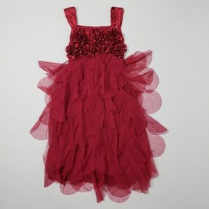 Girl's Bizcotti Red Petal Ruffle Dress Size 10
